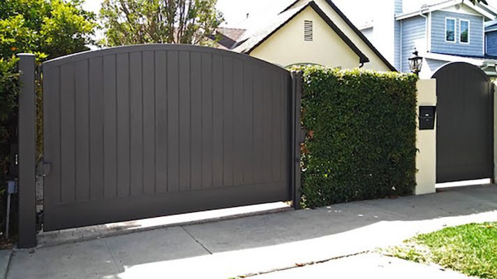 Dark wood driveway and entry gate