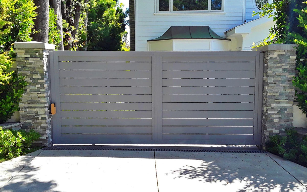 Grey Specialty aluminum driveway gate