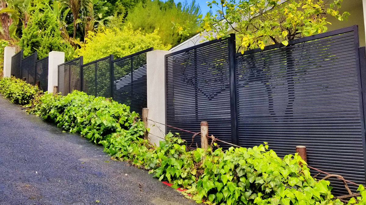 Hi-Tech aluminum fence on hillside