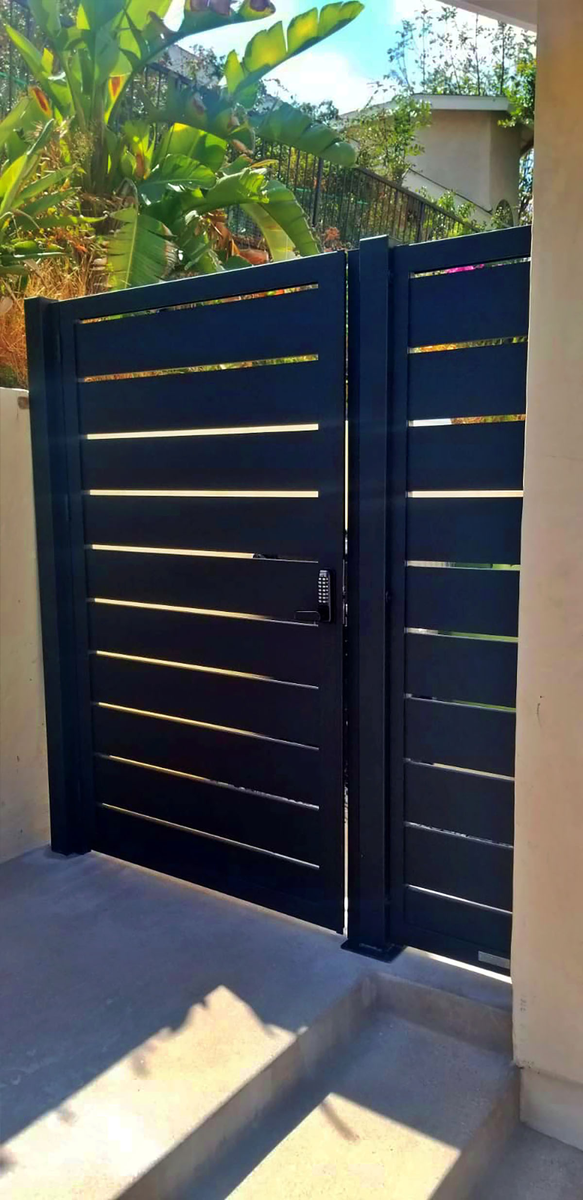 Black aluminum side entry gate