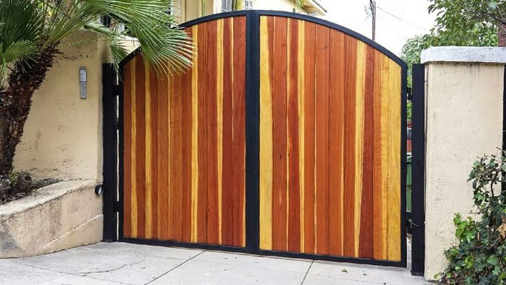Wood Driveway Gate with keypad entry