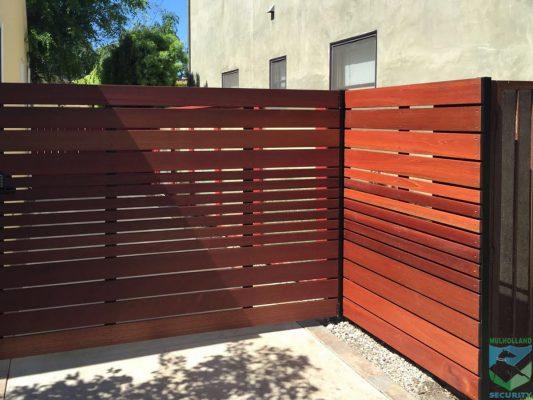 Horizontal Slated Wood corner fence