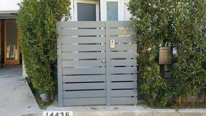 Grey Wood Entry gate with keypad
