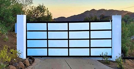 Glass and Aluminum Driveway Gate