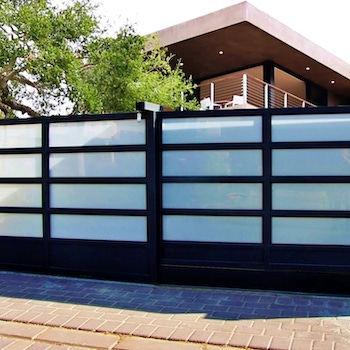 G180-S-2 White Glass and Aluminum Sliding Driveway Gate Mulholland Brand