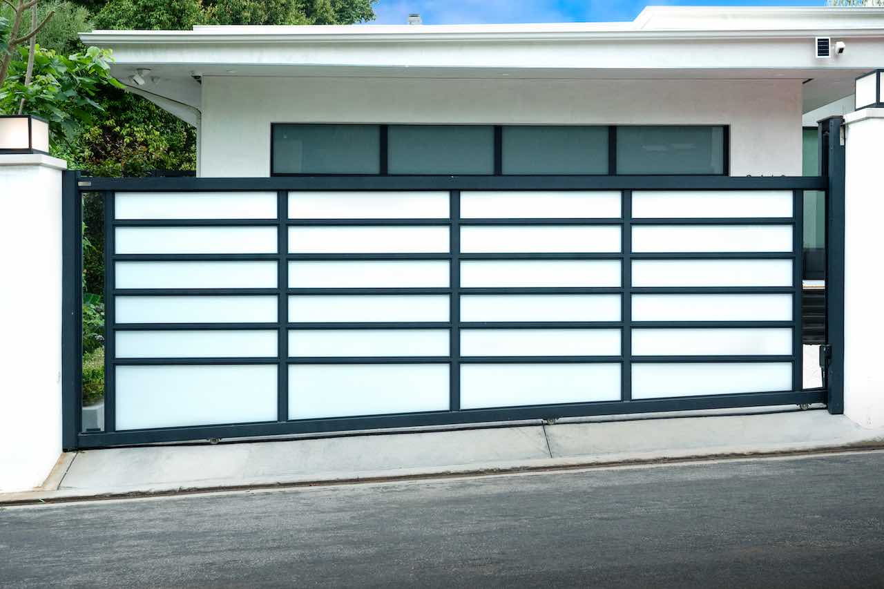 Powder-coated White Glass & Aluminum Sliding Driveway Gate