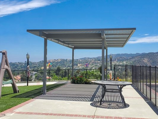 Gray Framed outdoor aluminum patio cover