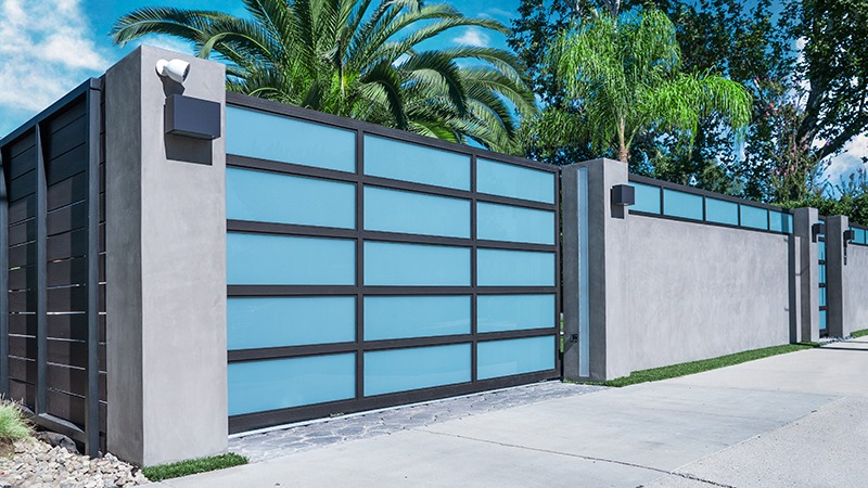 Gray and White Glass Aluminum Security Driveway Gate